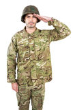 Portrait of soldier saluting. On white background Royalty Free Stock Image