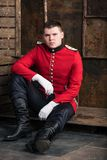 Portrait of a soldier. Sitting Royalty Free Stock Image