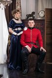 Portrait of a soldier and woman Royalty Free Stock Photography