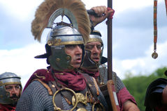 Portrait of soldiers-reenactors in historical costumes Royalty Free Stock Photo