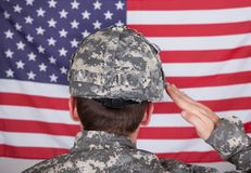 Portrait Of Solider Saluting Stock Photography