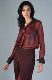 Portrait of sophisticated brunette woman. In burgundy suit set stock photography