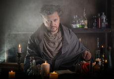 Portrait of a sorcerer. Indoor royalty free stock photo