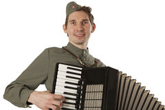Portrait of Soviet soldier with accordion over white Royalty Free Stock Images