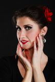 Portrait of spanish girl flamenco dancer on black Stock Images