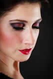 Portrait of spanish girl flamenco dancer on black Royalty Free Stock Photo