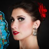 Portrait of spanish girl flamenco dancer with fan Stock Images