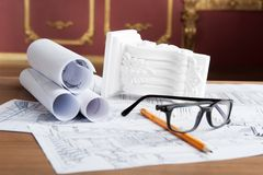 Portrait of spectacles, yellow pencil, design Stock Photography