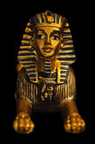 Portrait of a sphinx figure. There is a golden sphinx statue in the photo. The background is black Royalty Free Stock Photo
