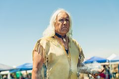 Portrait of Spiritual Leader of Pow Wow. Chumash Day Powwow and Intertribal Gathering in Malibu, CA. Storyteller, Spiritual Leader of the Pow Wow. 2019 Chumash stock photo