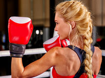 Portrait of sport blond girl boxing Stock Photography