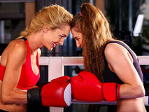 Portrait of sport girl boxing Stock Images