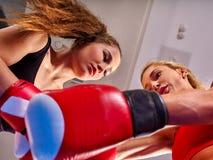 Portrait of sport girl boxing. Stock Photos