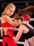 Portrait of sport girl boxing. Stock Photo