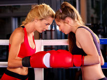 Portrait of sport girl boxing Royalty Free Stock Photo