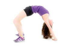 Portrait of sport girl doing stretching exercise Stock Photos