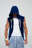 Portrait of a sports man in hood Stock Images
