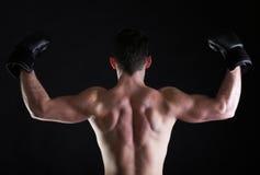 Portrait sportsman boxer in studio dark background Royalty Free Stock Images