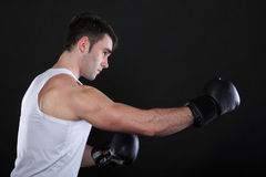 Portrait sportsman boxer in studio dark background Stock Images