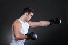 Portrait sportsman boxer in studio dark background Royalty Free Stock Photo
