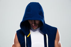 Portrait of a sportsman in hood Royalty Free Stock Images