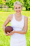 Portrait of sportswoman of Rugby Stock Images