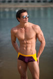 Portrait of a sporty, athletic, muscular sexy man in swimtrunks Royalty Free Stock Photo