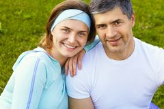 Portrait of sporty couple Stock Photo