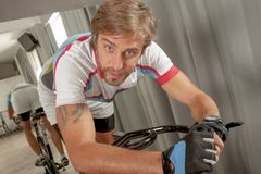 Portrait Sporty Fitt Male Gym Cycling Royalty Free Stock Images