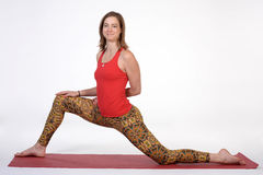 Portrait of sporty, healthy, young girl doing yoga exercises,work out, studio shot Royalty Free Stock Photo