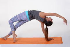 Portrait of sporty, healthy, young girl doing yoga exercises,work out, studio shot Royalty Free Stock Image