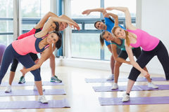 Portrait of sporty people stretching hands at yoga class Royalty Free Stock Photo