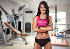 Portrait of sporty woman in gym Stock Photo