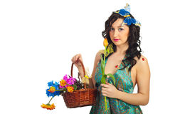 Portrait of spring girl with flowers Royalty Free Stock Image