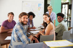 Portrait Of Staff At Brainstorming Meeting In Office stock photography