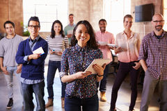 Portrait Of Staff Standing In Modern Design Office Royalty Free Stock Images