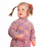 Portrait of standing child in warm sweater. Stock Photo
