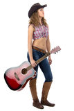 Portrait of standing cowgirl with the guitar Royalty Free Stock Photo