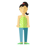 Portrait of Standing Young Female Person on White vector illustration