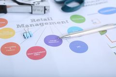 Portrait of stapler, paper clip, scissor and pen on the retail management chart.  stock photos