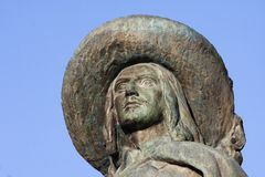 Portrait of the statue of D'Artagnan in Auch. In Gascony royalty free stock image