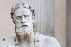 Portrait of the statue of greek philosopher Xenophon. Portrait of the stone statue of greek philosopher Xenophon in front of the austrian parliament in Vienna stock photography