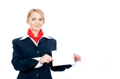 Portrait of a stewardess Royalty Free Stock Photo