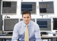 Portrait Of Stock Trader In Front Of Computer Royalty Free Stock Images