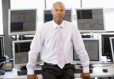 Portrait Of Stock Trader In Front Of Computer Royalty Free Stock Image