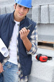 Portrait of a stonemason. Working on site Stock Images