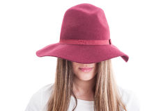 Portrait of a strange female model wearing hat Stock Photography