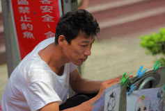 Portrait of street artist,painter Stock Images