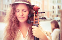 Portrait of street musician woman Stock Image