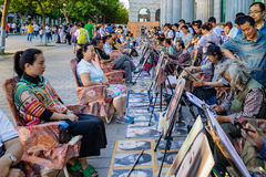 Portrait street painters in China Royalty Free Stock Photo
